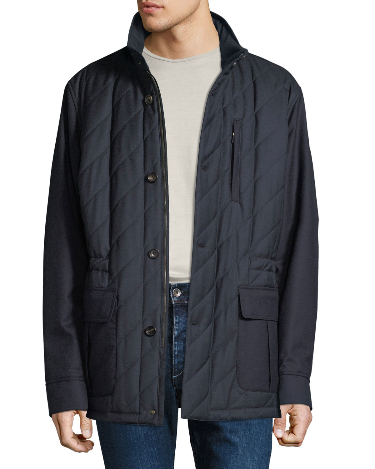 LUCIANO BARBERA Men'S Quilted Wool Field Jacket With Packaway Hood in Blue