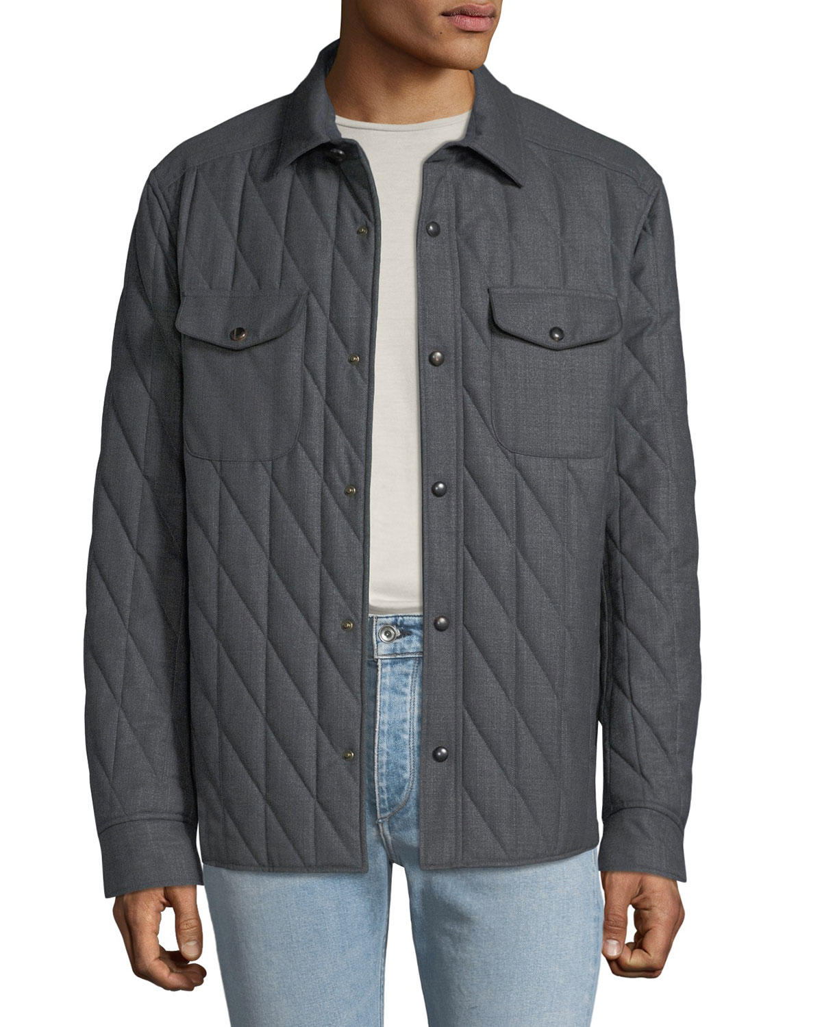 LUCIANO BARBERA Men'S Quilted Shirt Bomber Jacket in Medium Gray