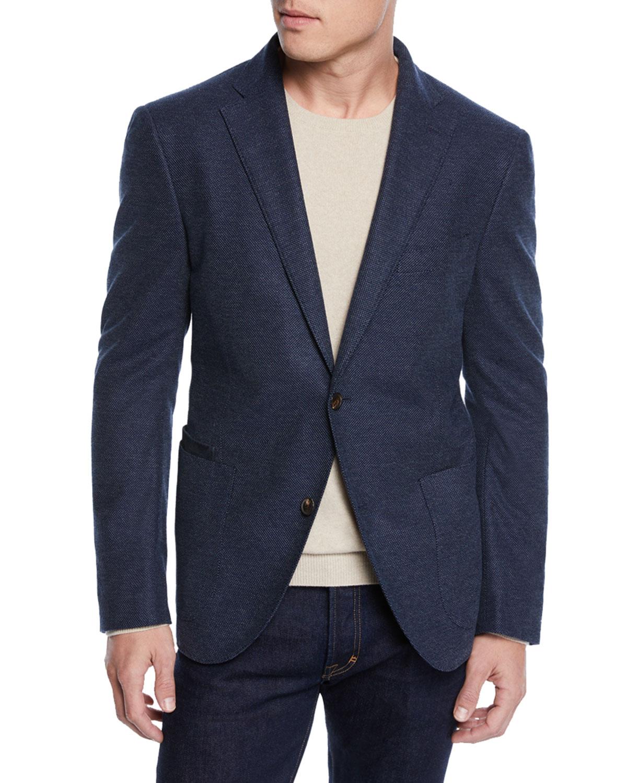 LUCIANO BARBERA Men'S Textured Solid Unconstructed Blazer in Navy