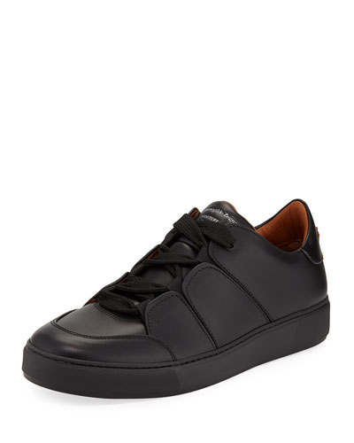 Men's Tiziano Leather Low-Top Sneakers, Black