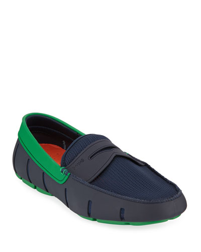 Men's Rubber Penny Loafer Water Shoes, Navy/Jolly Green