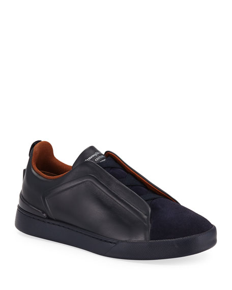 Ermenegildo Zegna Men's Triple-Stitch Slip-On Low-Top Sneakers
