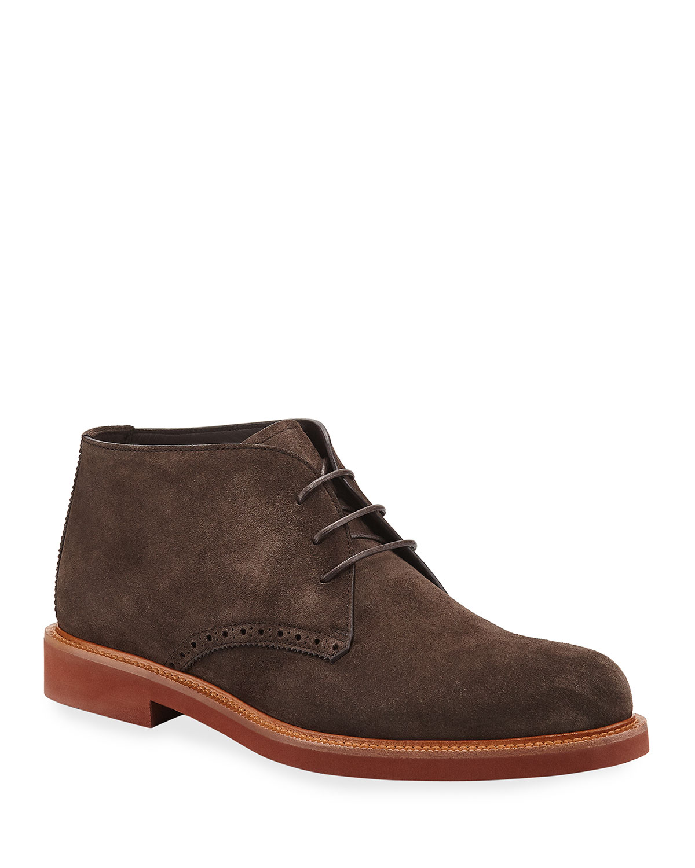 Men's Trivero Suede Chukka Boots w/ Brogue Detailing