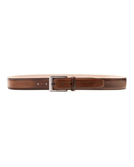 Magnanni Men's Manchester Square-Buckle Leather Belt