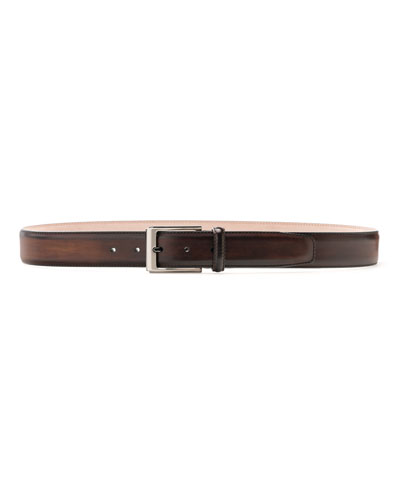 Men's Manchester Square-Buckle Leather Belt