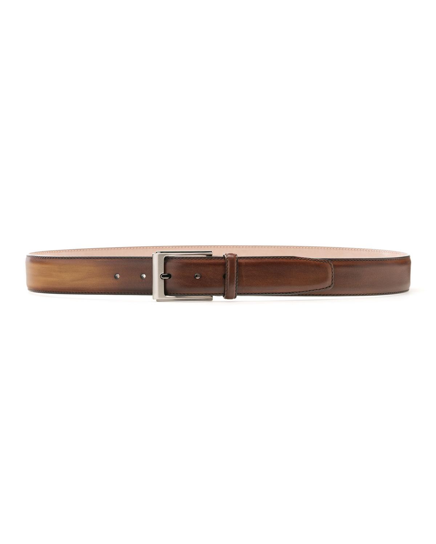 Men's Manchester Square-Buckle Leather Belt