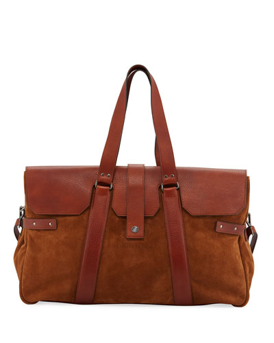 Men's Leather Flap-Top Duffel Bag