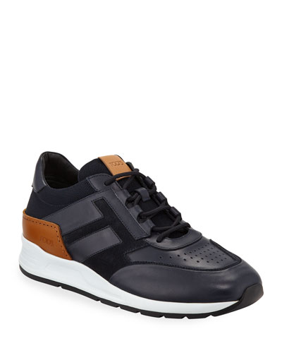 Men's 56-B Mesh & Leather Trainer Sneakers, Navy