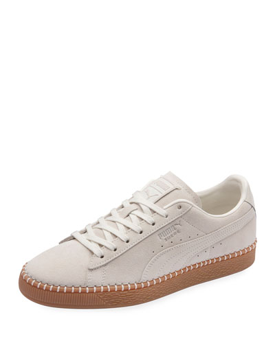 Men's Classic Suede Low-Top Sneakers w/ Basket-Stitch Trim