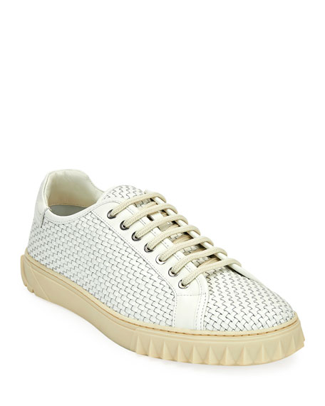 Salvatore Ferragamo Men's Cube 17 Woven Leather Sneakers