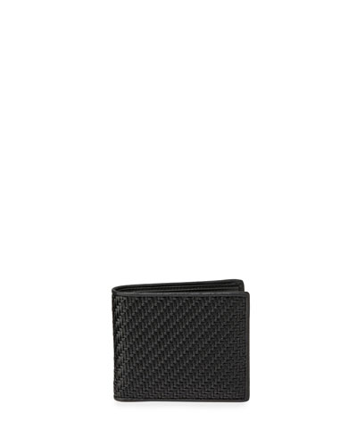 Men's Pelle Tessuta Woven Leather Bi-Fold Wallet with Card Case