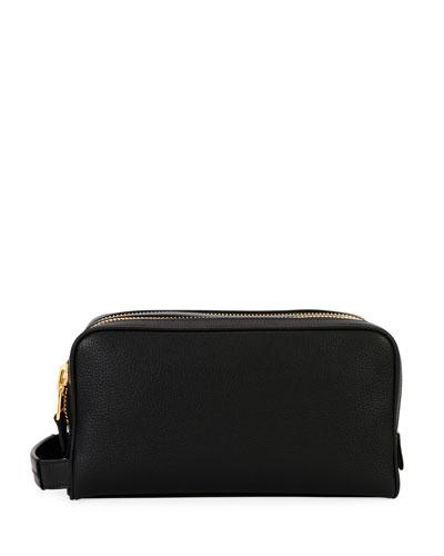 Men's Double-Zip Leather Toiletry Bag