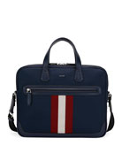 Bally Chandos Leather-Trim Briefcase, Dark Blue