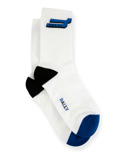 Men's Logo-Pattern Tube Socks, White/Blue