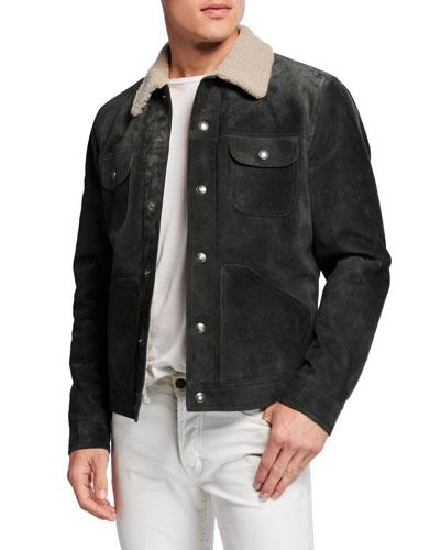 Men's Suede Shearling-Collar Trucker Jacket