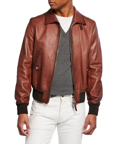2f7be44dc2 Leather Zip Bomber Jacket | Neiman Marcus