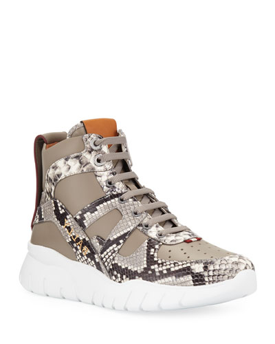 Men's Birko Snake-Trim High-Top Sneakers