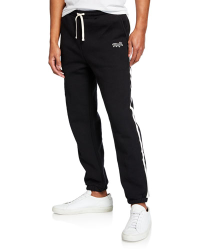 Men's Varsity Contrast-Stripe Sweatpants