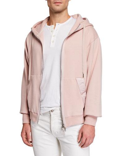Men's Garment Dyed Hoodie Sweatshirt, Pink