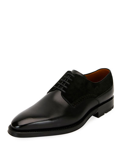 Men's Badux Injected-Lace Leather Oxford Shoes