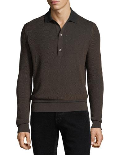Men's Silk/Cotton Oxford Jacquard Polo Sweater