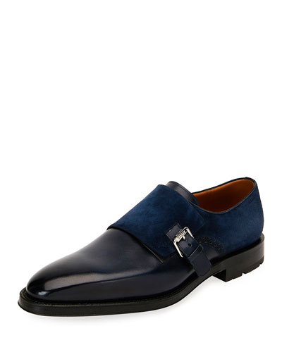 Men's Balbin Leather Injected-Sole Monk Strap Shoes