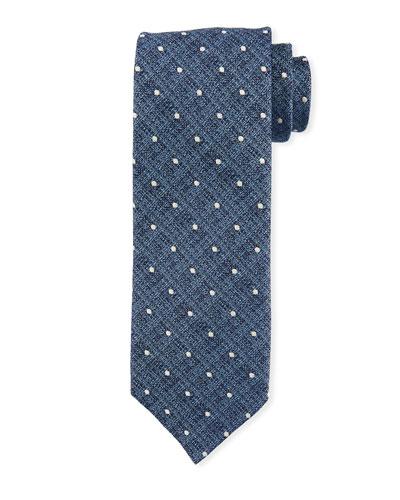 Mini Polka-Dot Silk Tie, Medium Blue