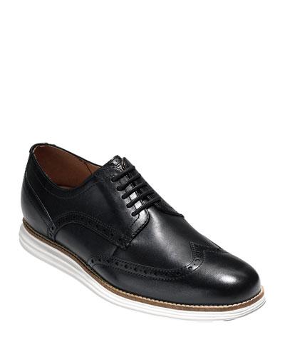Men's Original Grand Leather Wing-Tip Oxfords, Black