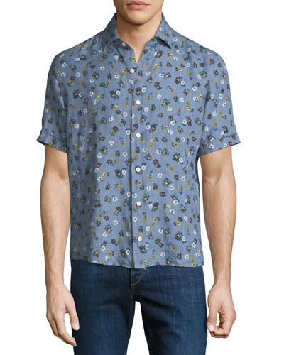 Men's Floral Linen Shirt