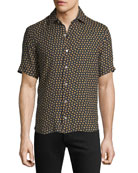 Culturata Men's Extra-Soft Floral Linen Short-Sleeve Shirt