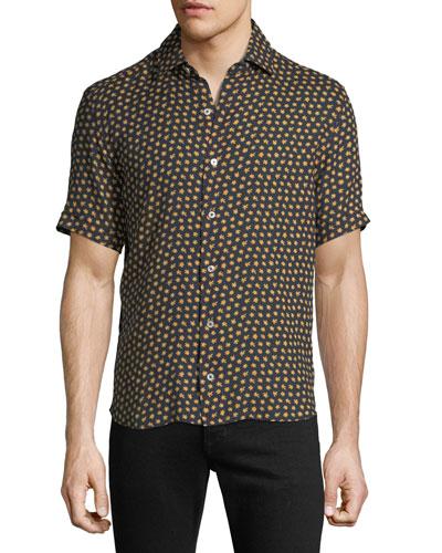 Men's Extra-Soft Floral Linen Short-Sleeve Shirt