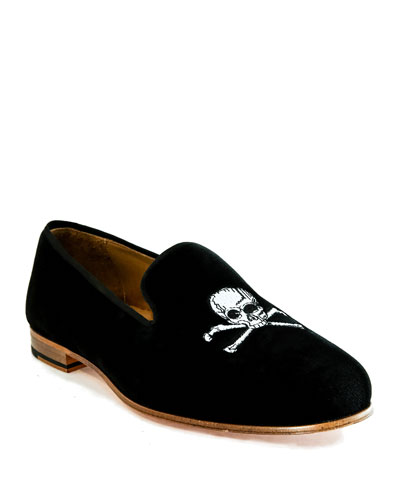 Men's Velvet Skull Loafers