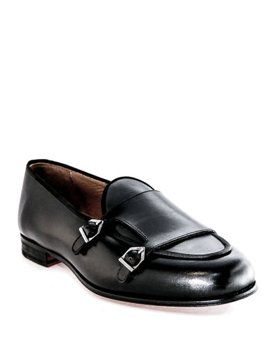 Men's Belgian Double-Monk Leather Loafers