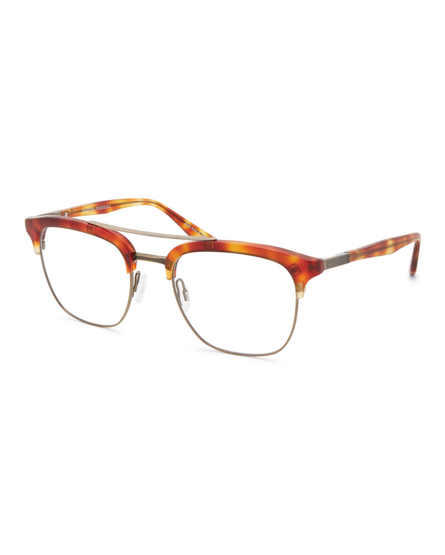 BARTON PERREIRA Men'S Lenox Half-Rim Matte Titanium Optical Frames in Brown Pattern