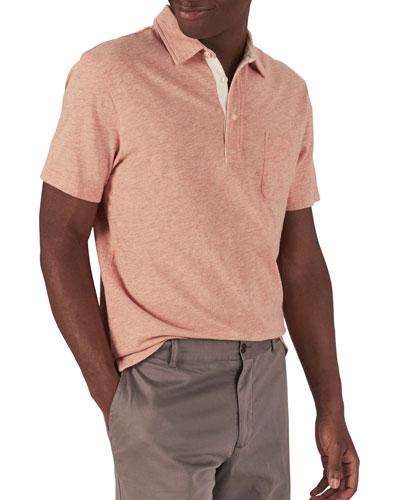 Men's Bleecker Heathered Short-Sleeve Polo Shirt with Pocket, Orange