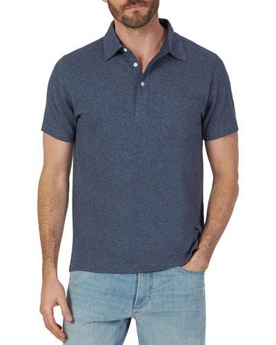 Men's Bleecker Heathered Short-Sleeve Polo Shirt with Pocket, Navy