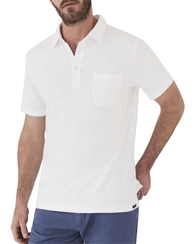Men's Sunwashed Short-Sleeve Polo Shirt with Pocket, White