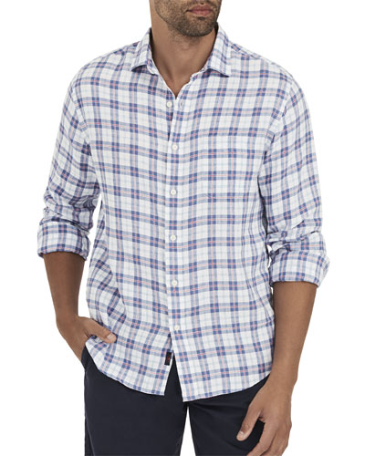 Men's Ventura Box-Plaid Linen Sport Shirt with Pocket