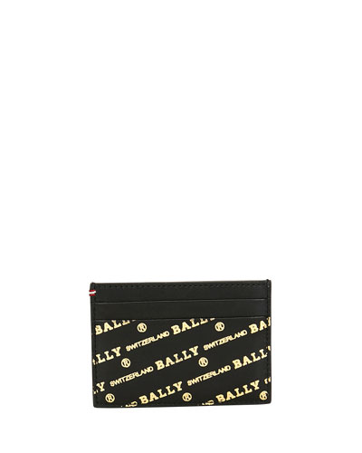 Men's Bhar Logo-Print Leather Card Case