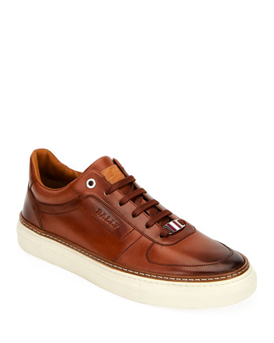 Men's Hens Logo-Embossed Burnished Sneakers