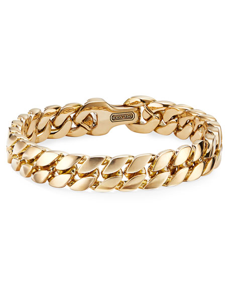 David Yurman Men's 18k Gold Curb Chain Bracelet, 11.5mm, Size L