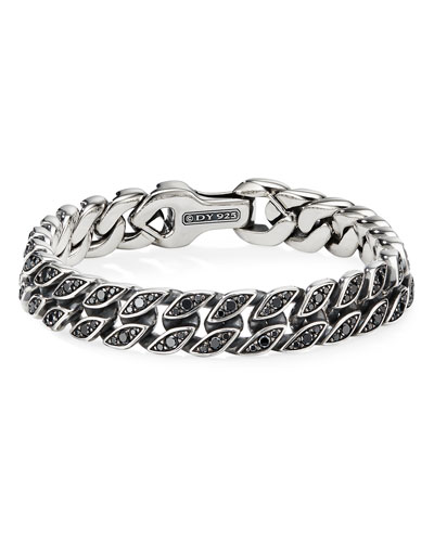 Men's 11.5mm Silver Curb Chain Bracelet with Black Diamonds, Size L