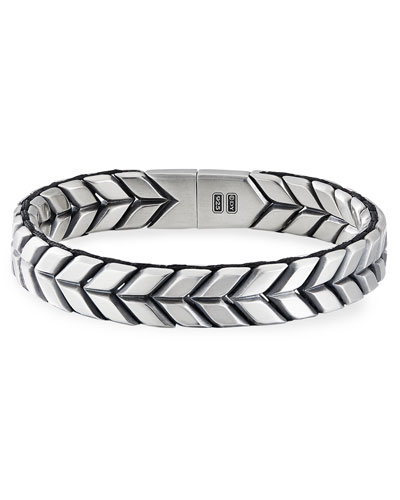 Men's 12mm Chevron Woven Silver Bracelet