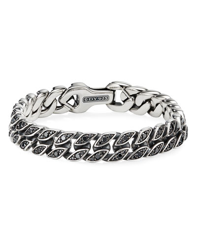 Men's 11.5mm Silver Curb Chain Bracelet with Black Diamonds, Size M