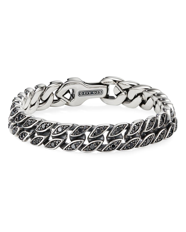 Men's 11.5mm Silver Curb Chain Bracelet with Black Diamonds
