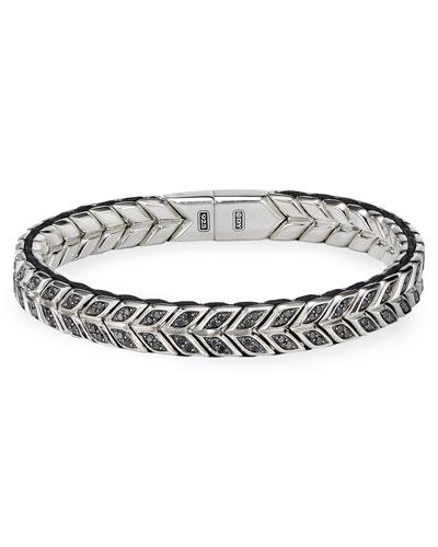 Men's 9mm Chevron Silver Bracelet w/ Black Diamond Insets, Size L