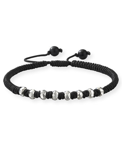 Men's Fortune Woven Bracelet w/ Beaded Embellishments