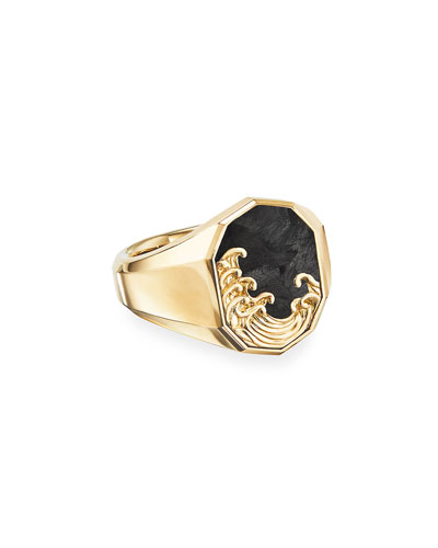 Men's Waves 18K Gold & Forged Carbon Signet Ring