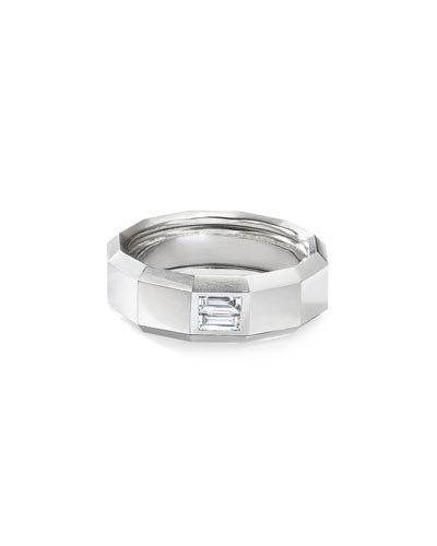 Men's 18k White Gold 8mm Faceted Band Ring with Diamonds