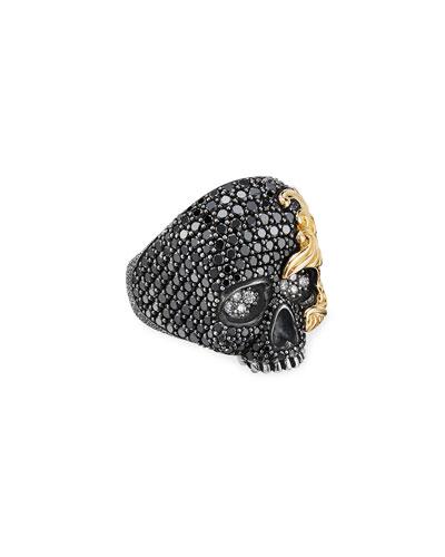 Men's Sterling Silver Skull Ring w/ 18k Gold Wave Detail